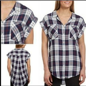 Jachs Girlfriend navy white plaid button up top